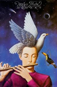 Опера Моцарта «Волшебная флейта». Постер Рафала Ольбиньского
